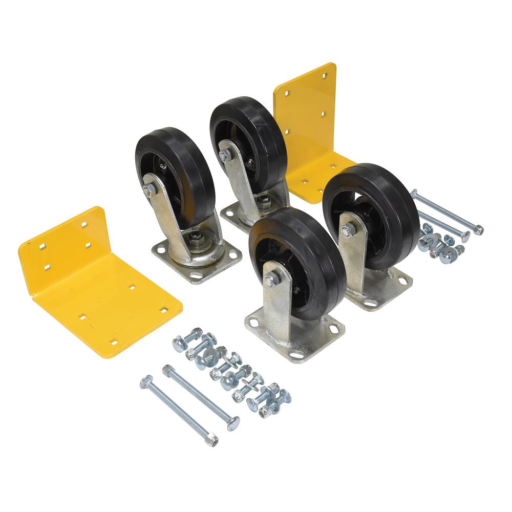 6 in. x 2 in. Mold On Rubber Caster Kit - Set of 4 - 2,400 lb. Capacity