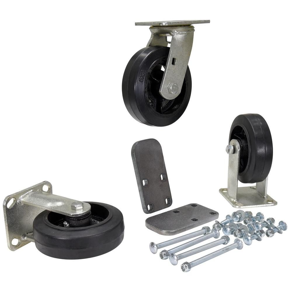 6 in. x 2 in. Mold On Rubber Caster Kit - Set of 3 - 1,800 lb. Capacity