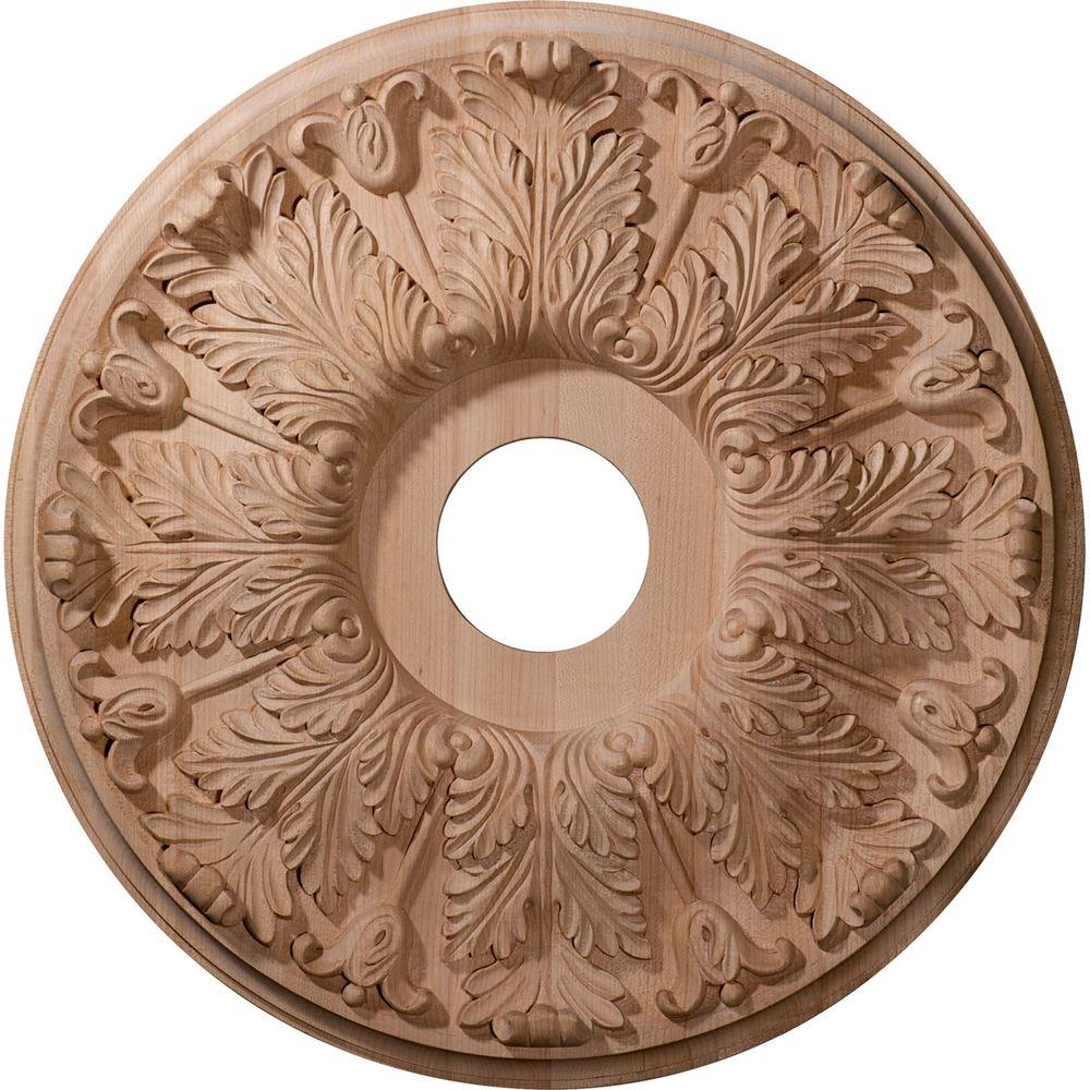 20 in. Unfinished Red Oak Carved Florentine Ceiling Medallion