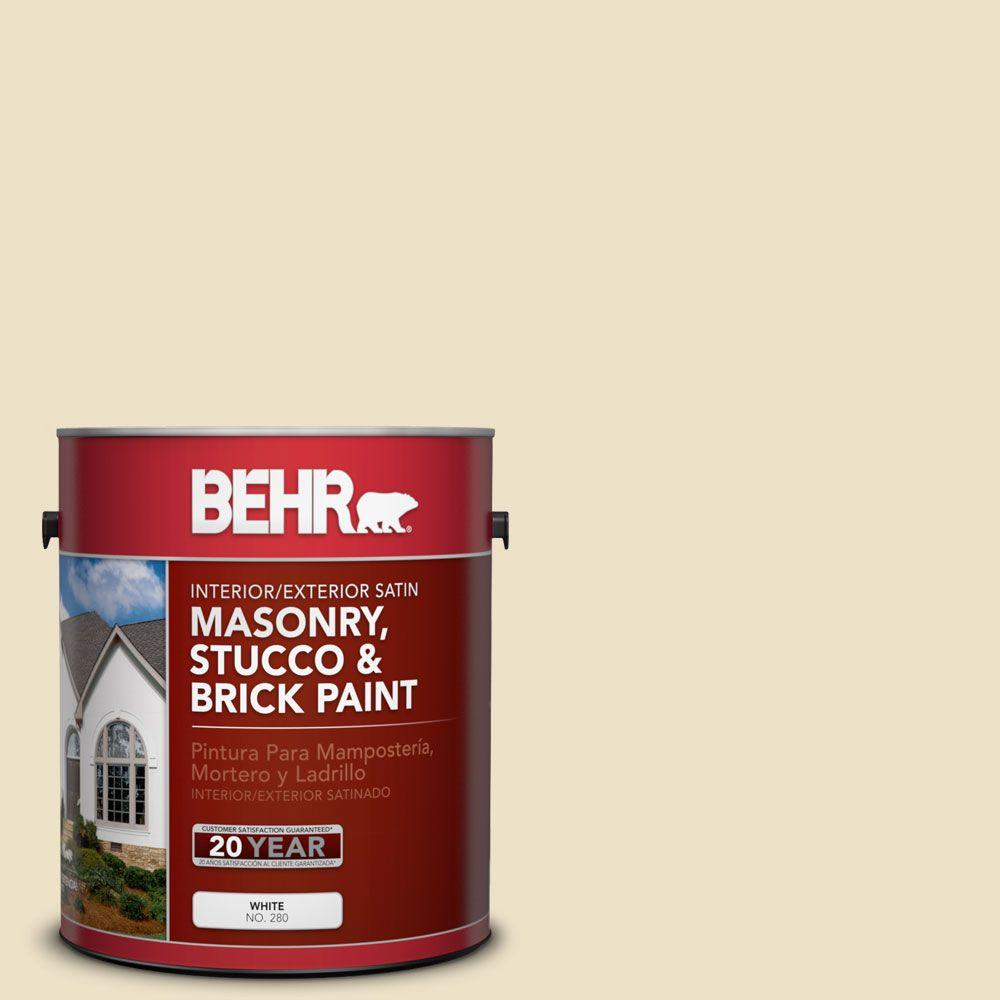 1-gal. #MS-26 Chablis Cream Satin Interior/Exterior Masonry, Stucco and Brick Paint