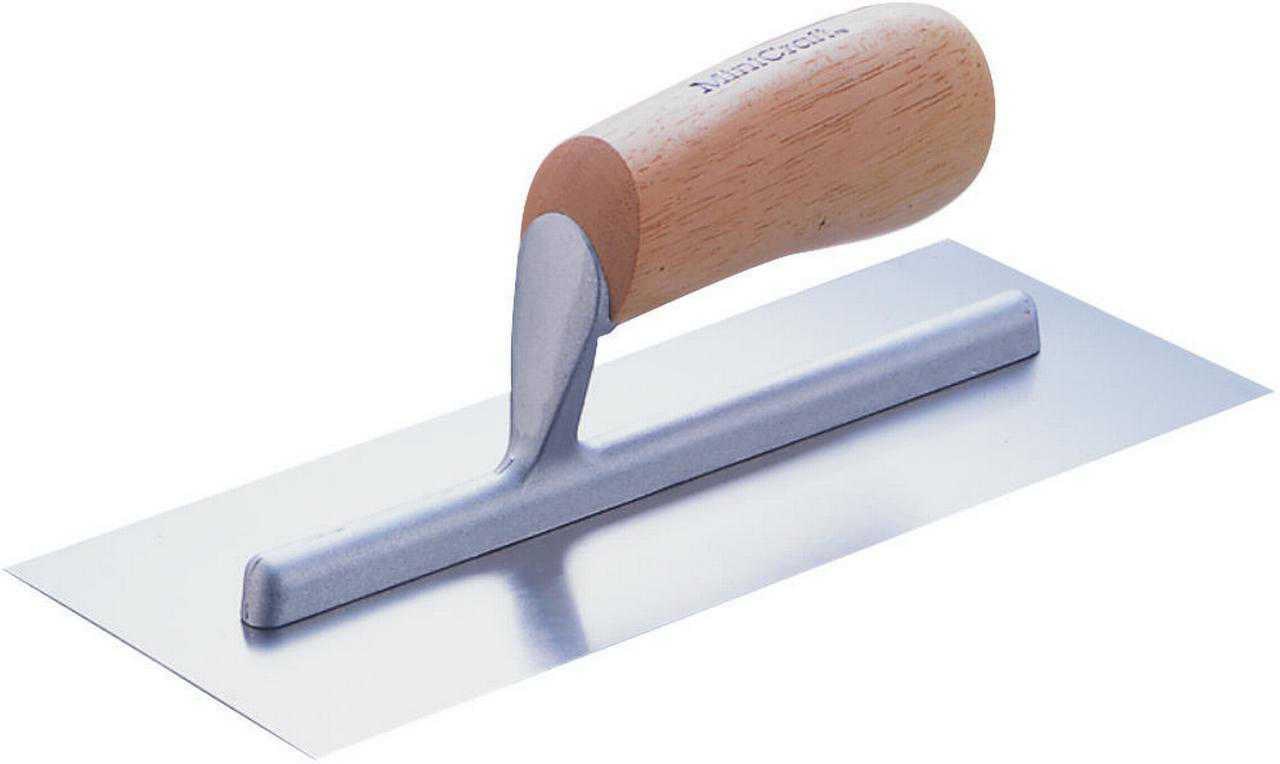 ProSource 16214 Cement Trowel, 4 in W x 14 in L High Carbon Steel Blade, Wood Handle